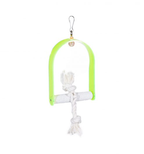 Green bird swing with climbing rope