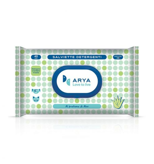 Arya Wet Wipes Aloe 40 Wipes, Paws & Claws Pets