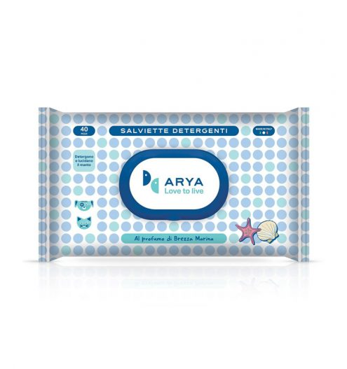 Arya WetWipes Sea Breeze 40 Wipes, Paws & Claws Pets