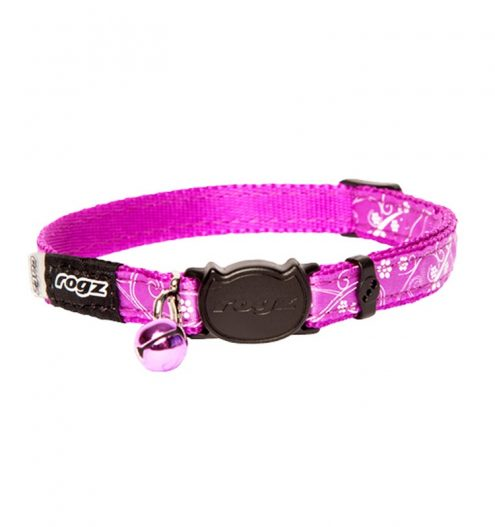 Rogz Silkcat Collar Break Away Safety Buckle Purple, Paws & Claws Pets