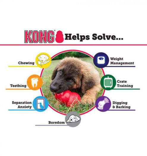 Made with exclusive kong teething rubber formula, the puppy kong is available in three super-bouncy sizes