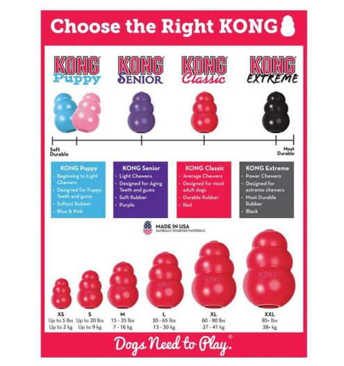 Kong Classic Dog Toy, Paws & Claws Pets