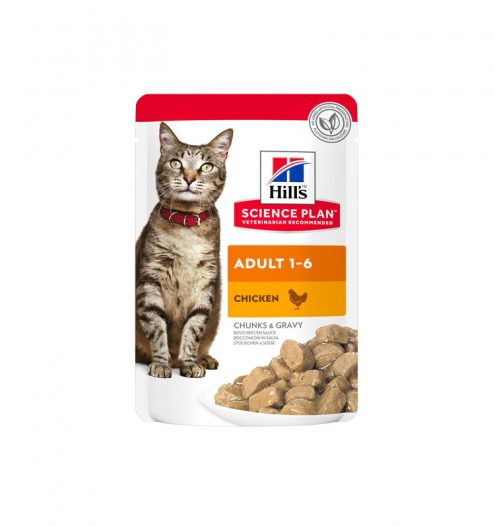 Hill's Science Plan Adult Wet Cat Food Chicken Pouches 12x85g, Paws & Claws Pets