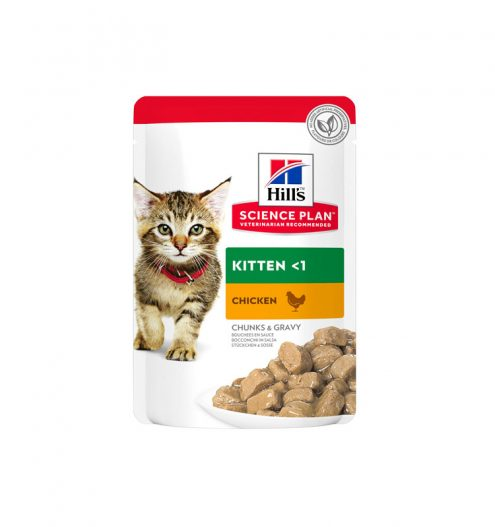 Hill's Science Plan Tender Chunks in Gravy Kitten Chicken Pouches (12x85g), Paws & Claws Pets