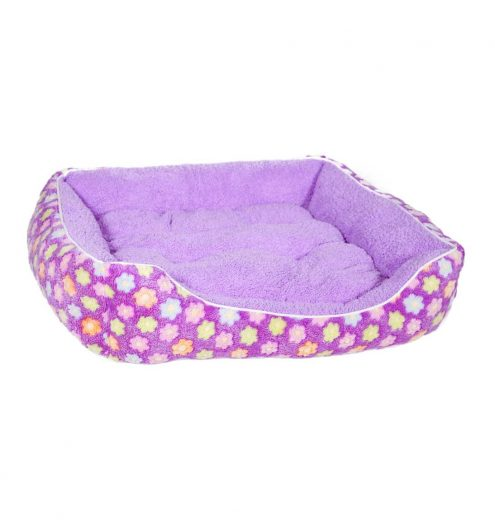 Fluffy Purple Floral Pet Bed, Paws & Claws Pets