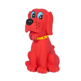 Charlie the Chew Toy is a bright red squeaky dog toy that's just begging your pup to chew on him!