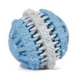 Doggy Dental Ball is designed to act like a toothbrush, using small ridges and bumps to help remove dental plaque as your dog chews
