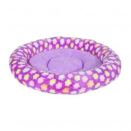 Fluffy Pet Bed - Floral Purple