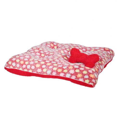 Fluffy red floral pet bed is super cozy