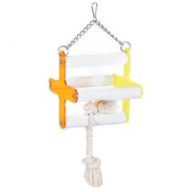 Four perch bird swing is perfect for cockatiels, parakeets and other small bird species