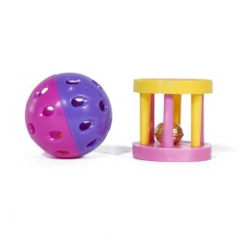 Jingle Bells Pair of Cat Toys are colourful toys perfect for your cat to chase around inside the house