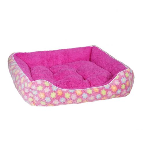 Fluffy Pink Floral Pet Bed, Paws & Claws Pets