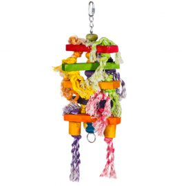Hanging Bird Toys Bits 'n' Blocks made of durable non-toxic rope and wood designed to hang in a small or medium sized bird cage