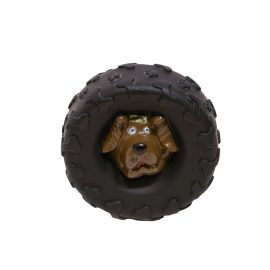 Tyre squeaky dog toy combination is made of durable material that's non-toxic